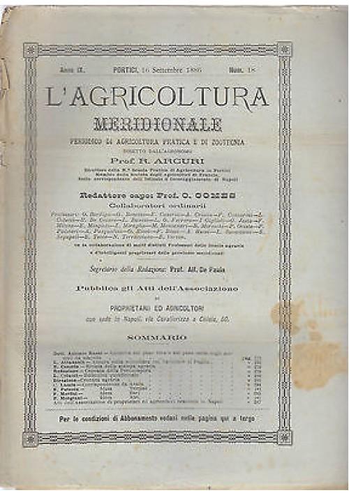 L'AGRICOLTURA MERIDIONALE 16 settembre 1886 periodico di agricoltura pratica