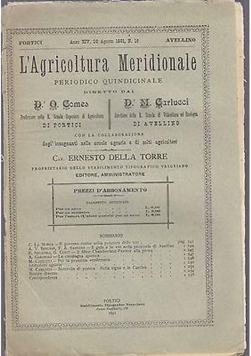 L'AGRICOLTURA MERIDIONALE 20 agosto 1891 periodico agricoltura pratica Portici