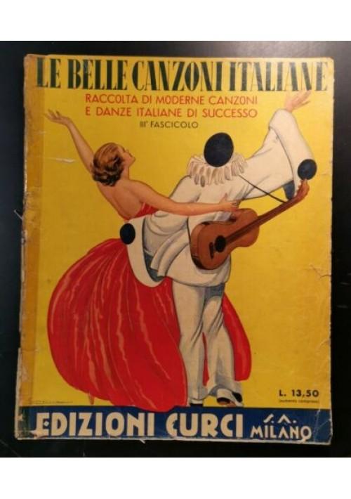LE BELLE CANZONI ITALIANE raccolta di spartiti 1939 copertina Corbella vintage
