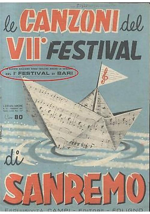 LE CANZONI DEL VII FESTIVAL DI SANREMO e del I FESTIVAL DI BARI 1957 Campi