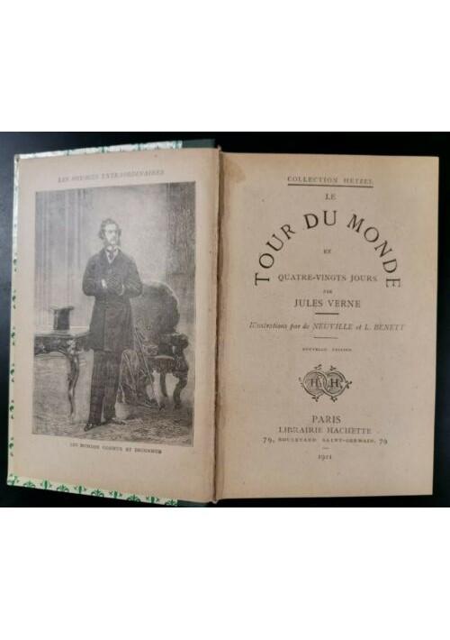 LE TOUR DU MONDE EN QUATRE VINGTS JOURS di Jules Verne 1921 Hachette libro livre