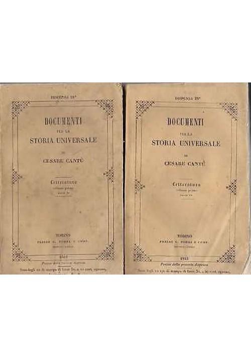 LETTERATURA di Cesare Cantù 4 tomi in due volumi - Torino G. Pomba 1845  ANTICO
