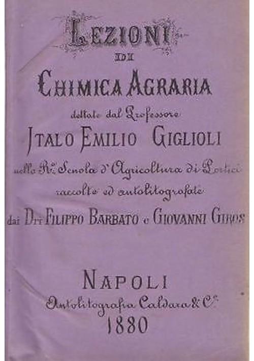 LEZIONI DI CHIMICA AGRARIA di Italo Emilio Giglioli 1880 Autolitografia Caldara
