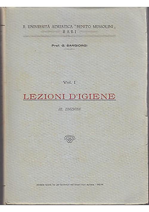 LEZIONI DI IGIENE 2 volumi Sangiorgi 1942 Scuola Tipografica Sordomuti Apicella