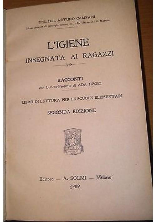 L'IGIENE INSEGNATA AI RAGAZZI di Arturo Campani 1909 Solmi