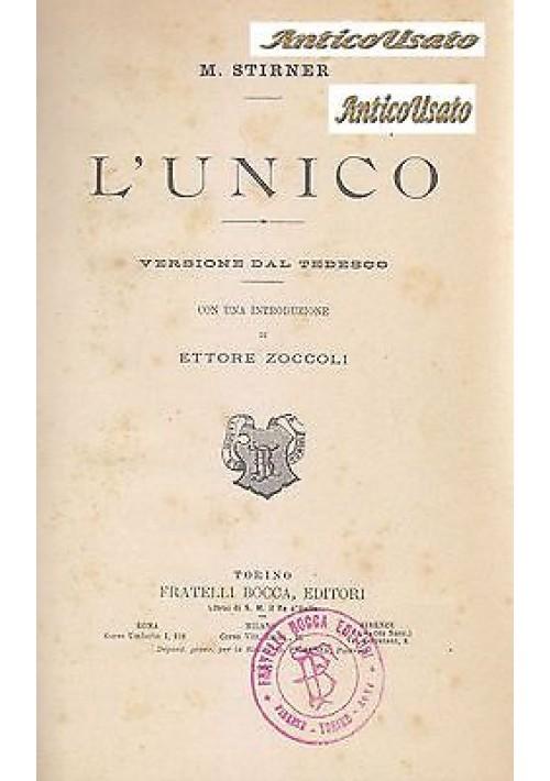 L'UNICO di M.Stirner 1902  Fratelli Bocca Editore I edizione italiana Anarchismo