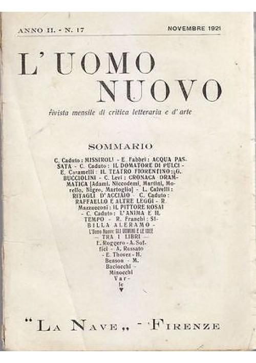 L'UOMO NUOVO RIVISTA MENSILE DI CRITICA LETTERARIA - Anno II N.17 Novembre 1921