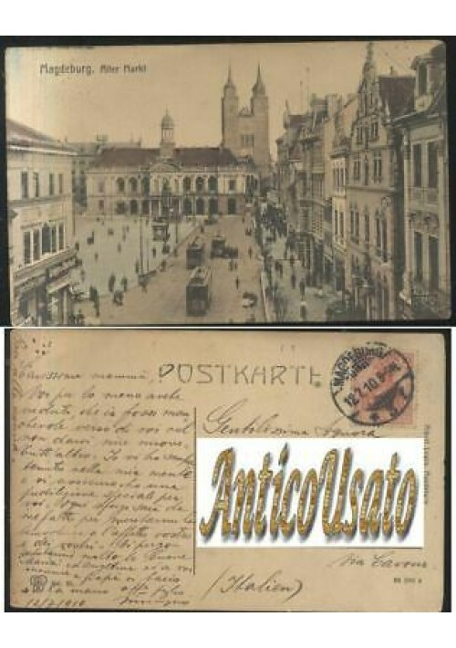 MAGDEBURG ALTER MARKT viaggiata 12/07/1910 ORIGINALE cartolina Germania