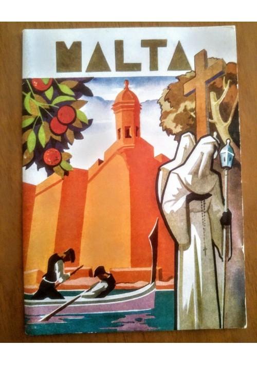 MALTA island sunshine Depliant Brochure advertisement tourist turismo 1954