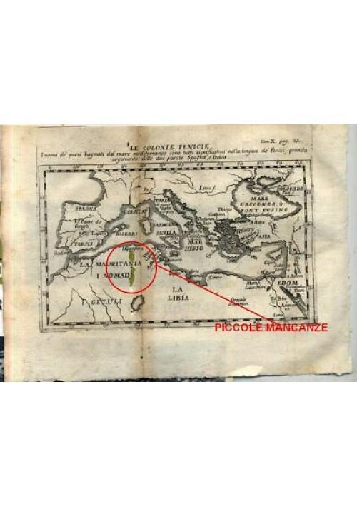 MAPPA 1740 ITALIA MEDITERRANEO LIBIA SPAGNA INCISIONE STAMPA RAME ANTICA GRAVURE