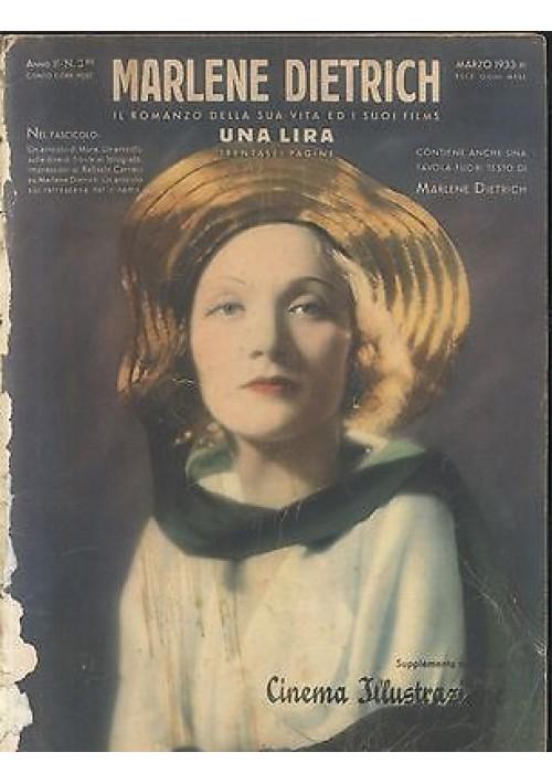MARLENE DIETRICH SUPPLEMENTO MENSILE CINEMA ILLUSTRAZIONE A II N 3 BIS 1933