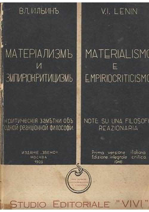 MATERIALISMO ED EMPIRIOCRITICISMO di V I Lenin  1946 I edizione prima