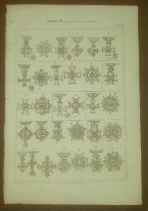 MEDAGLIE ARALDICA ORDINI CIVILI E MILITARI INCISIONE STAMPA RAME 1866 ORIGINALE