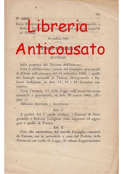 MELEGNANELLO ROBECCO LODIGIANO SOPPRESSI - REGIO DECRETO 1869 - AGGREGATI TURANO