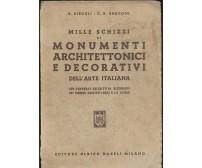 MILLE SCHIZZI MONUMENTI ARCHITETTONICI DECORATIVI Diegoli Braggio 1951 Hoepli