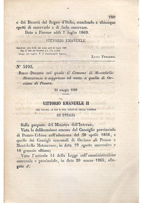MONTEBELLO METAURENSE -  REGIO DECRETO 1869 ORCIANO DI PESARO - originale antico