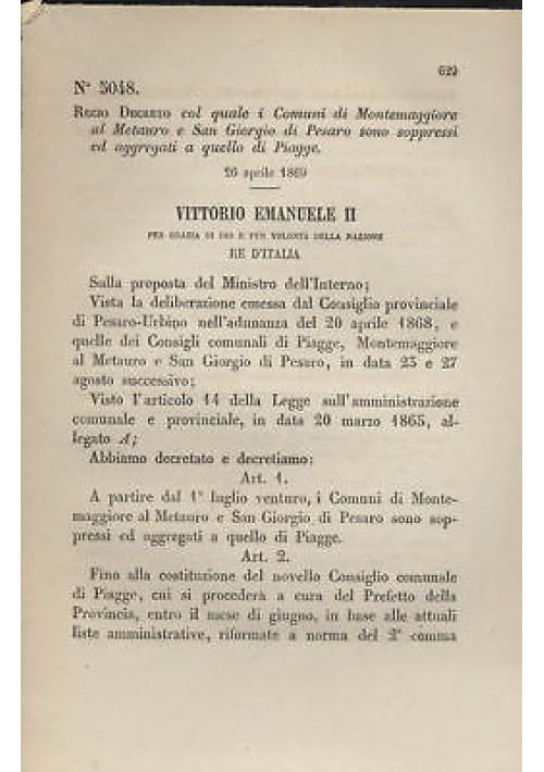 MONTEMAGGIORE AL METAURO - REGIO DECRETO - 1869  PIAGGE