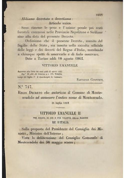 MONTESCUDOLO REGIO DECRETO 1862 MONTESCUDO - RIMINI