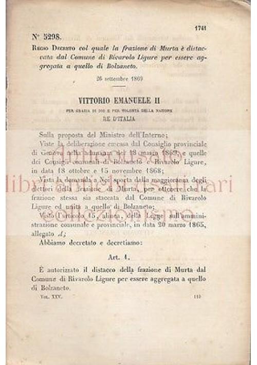 MURTA FRAZIONE REGIO DECRETO 1869 RIVAROLO LIGURE BOLZANETTO originale d'epoca