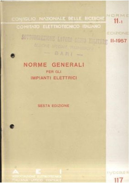 Norme generali per gli impianti elettrici 1957 assoc - Norme per impianti elettrici civili ...