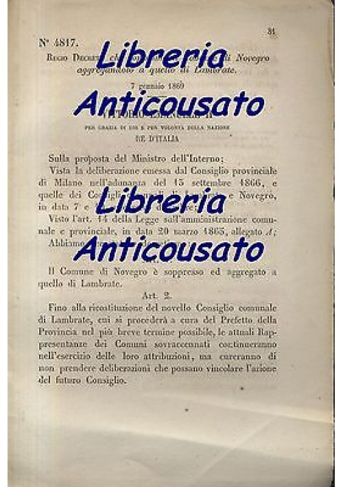 NOVEGRO SOPPRESSO - REGIO DECRETO - 1869 - AGGREGATO A LAMBRATE - ORIGINALE