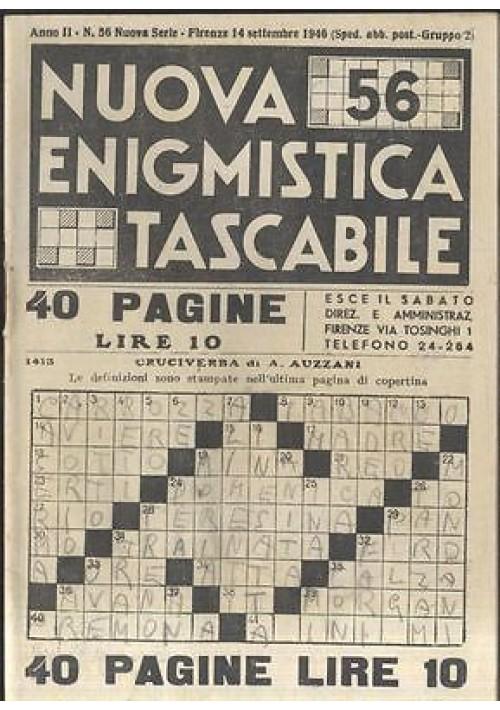 NUOVA ENIGMISTICA TASCABILE a. II n 56 14 settembre 1946 Corrado Tedeschi
