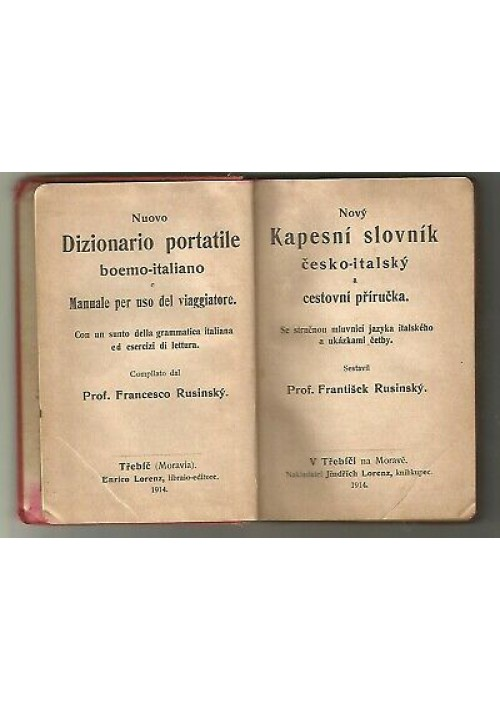 NUOVO DIZIONARIO PORTATILE BOEMO ITALIANO F. Rusinsky 1914 Trebic Lorenz