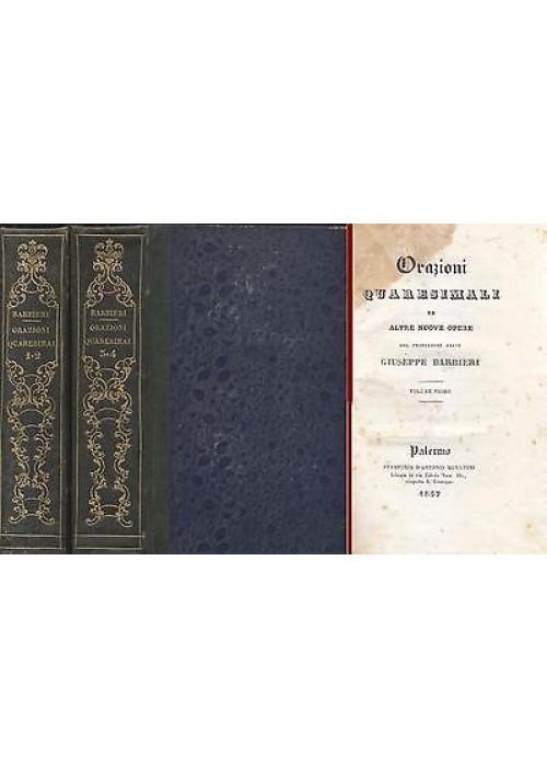 ORAZIONI QUARESIMALI 4 tomi in 2 volumi Giuseppe Barbieri 1838 Antonio Muratori
