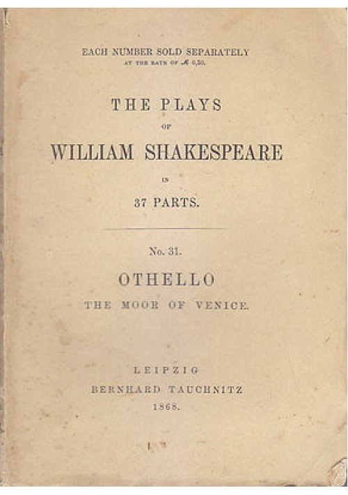 OTHELLO THE MOOR OF VENICE di William Shakespeare 1868  Bernhard Tauchnitz