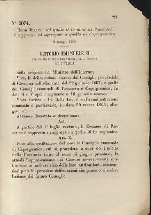 PASSARERA CAPERGNANICA - REGIO DECRETO - 1869  CREMONA