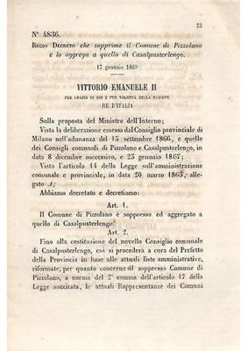 PIZZOLANO SOPPRESSO -  REGIO DECRETO 1869  AGGREGATO CASAL PUSTERLENGO originale
