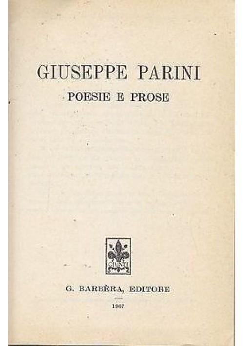 POESIE E PROSE di GIUSEPPE PARINI - TUTTE LE OPERE 1967 Barbera editore