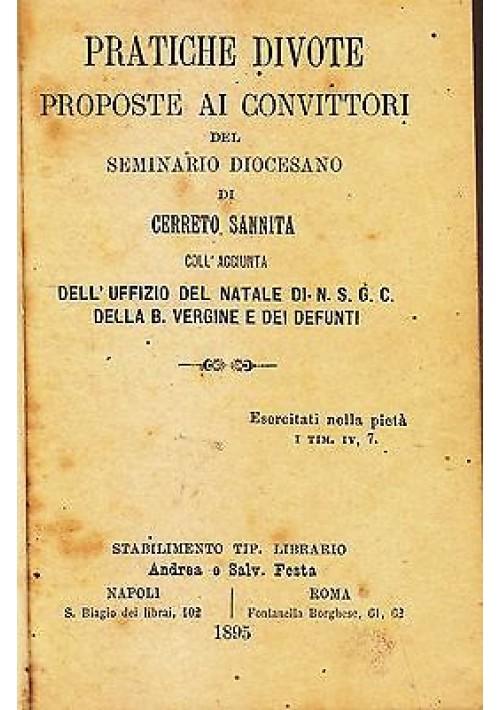 PRATICHE DIVOTE PROPOSTE AI CONVITTORI DEL SEMINARIO DIOCESANO 1895 Festa