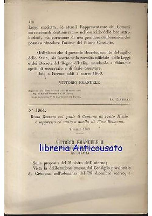PRATO MUZIO  SOPPRESSO E AGGREGATO A PIEVE DELMONA - REGIO DECRETO 1869