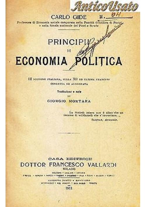 PRINCIPII DI ECONOMIA POLITICA di Carlo Gide 1911 Casa editrice Vallardi