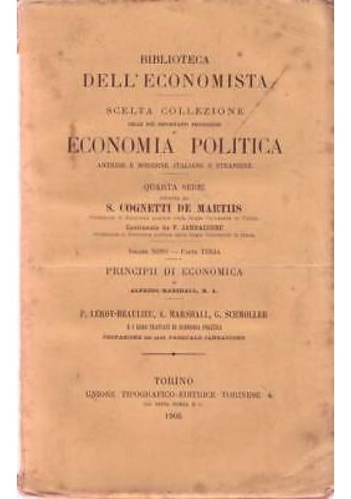 PRINCIPII DI ECONOMIA di Alfredo Marshall 1905 UTET I edizione *