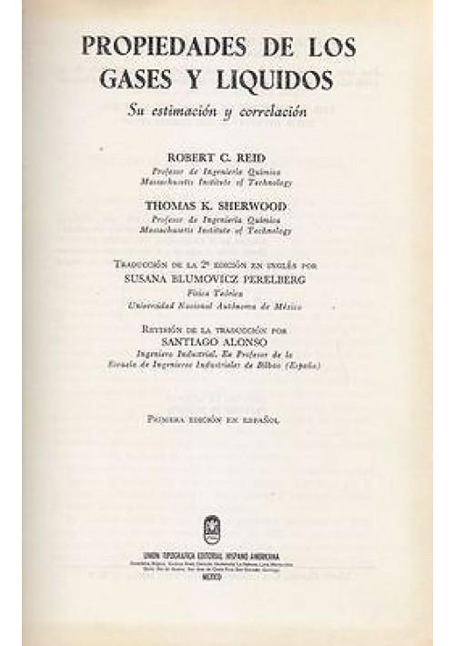 PROPIEDADES DE LOS GASES Y LIQUIDOS di Robert C. Reid e Thomas K. Sherwoods 1978