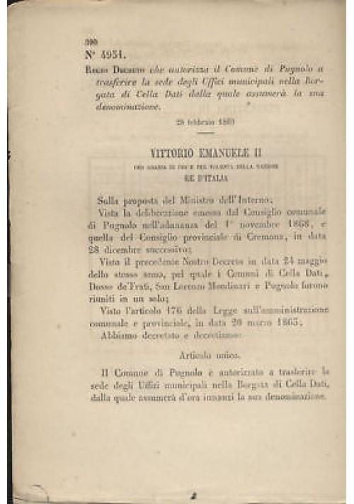 PUGNOLO - REGIO DECRETO 1869  - BORGATA DI CELLA DATI