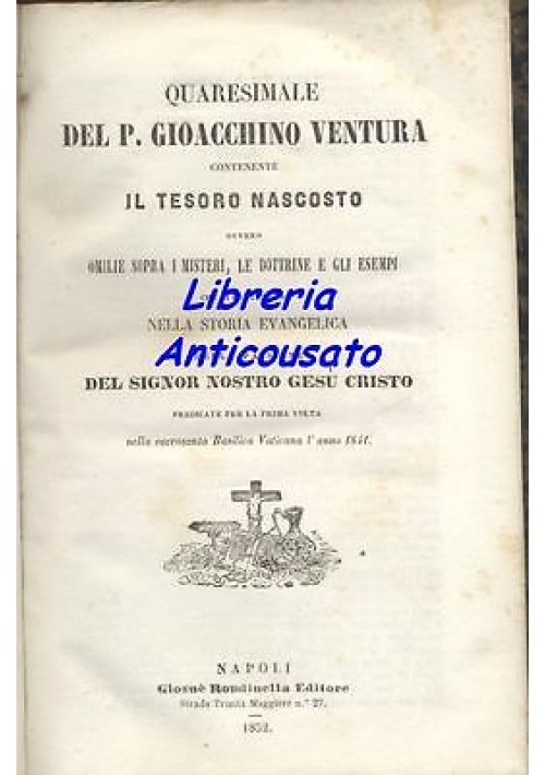 QUARESIMALE IL TESORO NASCOSTO Padre Gioacchino Ventura 1852  Giosuè Rondinella