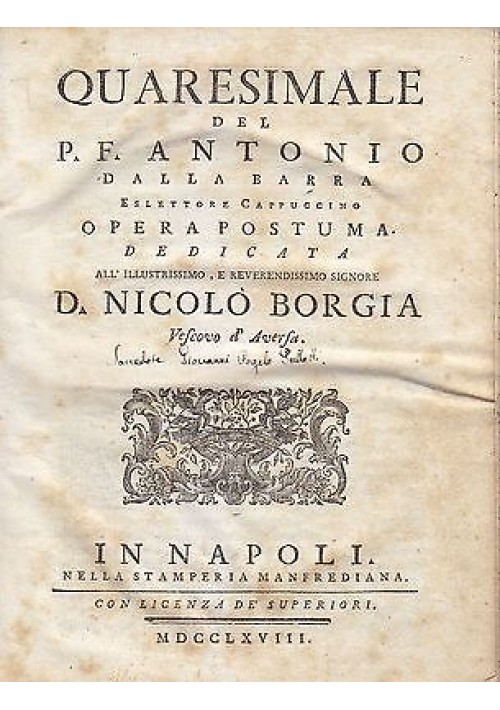 QUARESIMALE del P.F. Antonio Dalla Barra NapoliStamperia Manfrediana  1768