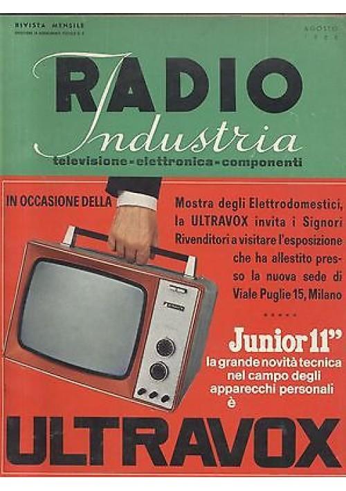 RADIO INDUSTRIA elettronica televisione componenti RIVISTA AGOSTO 1966