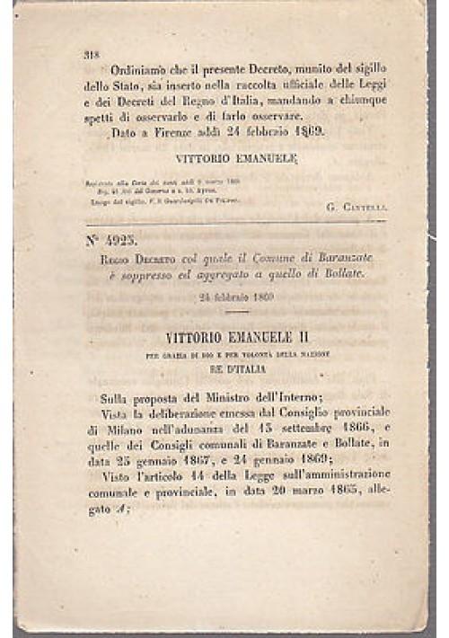 REGIO DECRETO BARANZATE OLONA SOPPRESSO AGGREGATO BOLLATE - 1869 ORIGINALE!