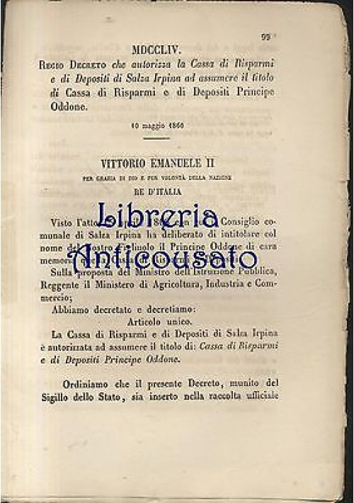 REGIO DECRETO CASSA RISPARMI DEPOSITI SALZA IRPINA 1866 PRINCIPE ODDONE