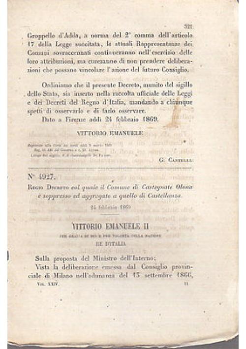 REGIO DECRETO CASTEGNATE OLONA SOPPRESSO AGGREGATO CASTELLANZA - 1869 ORIGINALE!