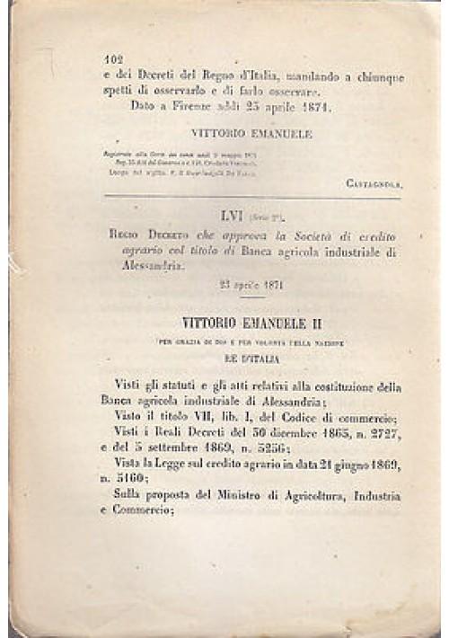 REGIO DECRETO CHE APPROVA SOCIETA' BANCA AGRICOLA INDUSTRIALE ALESSANDRIA 1871