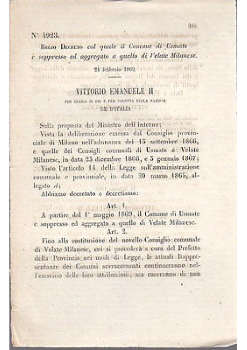 REGIO DECRETO COMUNE USMATE SOPPRESSO E AGGREGATO A VELATE MILANESE - 1869