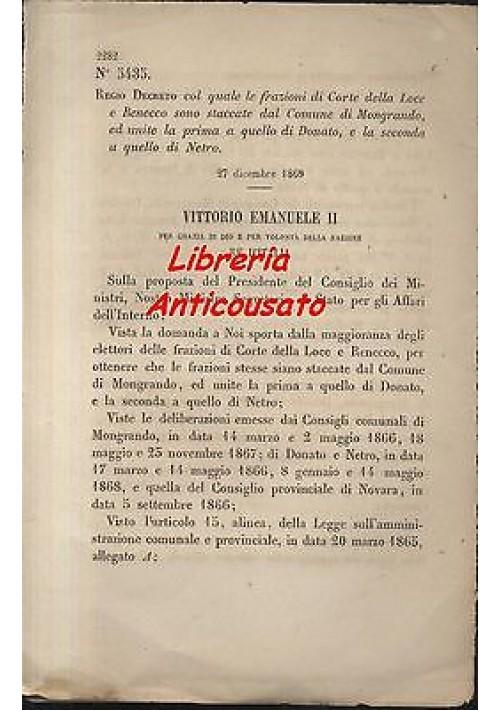 REGIO DECRETO CORTE DELLA LOCE RENECCO MANGRANDO DONADO NETRO - 1869 ORIGINALE