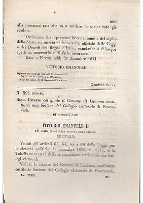 REGIO DECRETO LICCIANA SEZIONE COLLEGIO ELETTORALE PONTREMOLI  - 1871 ORIGINALE