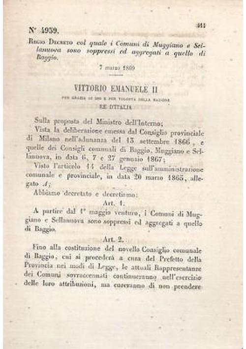 REGIO DECRETO MAGGIANO - SELLANUOVA SOPPRESSI BAGGIO - 1869 - ORIGINALE D'EPOCA
