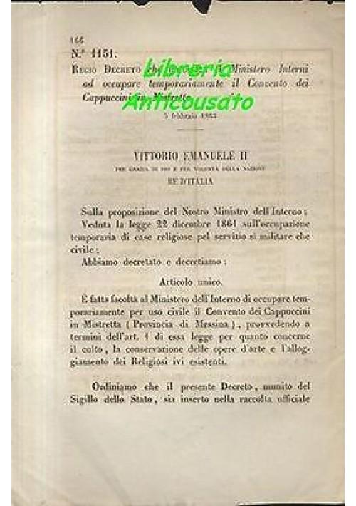 REGIO DECRETO OCCUPAZIONE CONVENTO CAPPUCCINI IN MISTRETTA - 5 FEBBRAIO 1863